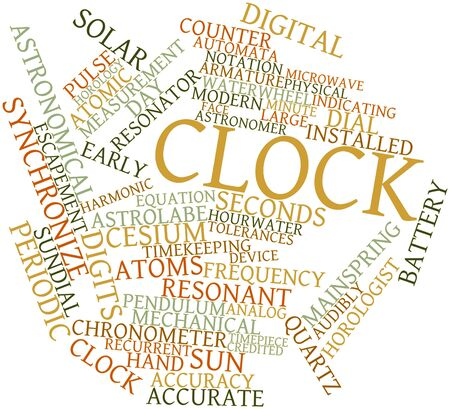 resonator: Abstract word cloud for Clock with related tags and terms Stock Photo