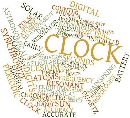 reloj de sol: Nube palabra abstracta para el reloj con las etiquetas y términos relacionados