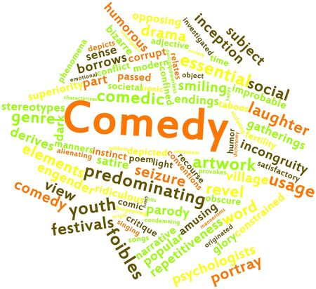 burgeoning: Abstract word cloud for Comedy with related tags and terms