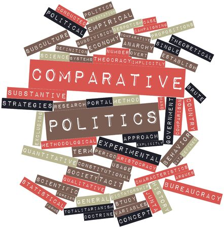 implies: Abstract word cloud for Comparative politics with related tags and terms Stock Photo
