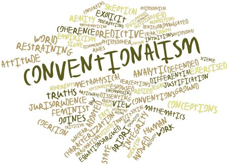 implicit: Abstract word cloud for Conventionalism with related tags and terms