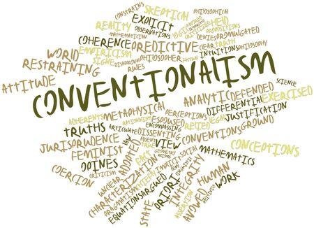 esplicito: Word cloud astratto per convenzionalismo con tag correlati e termini