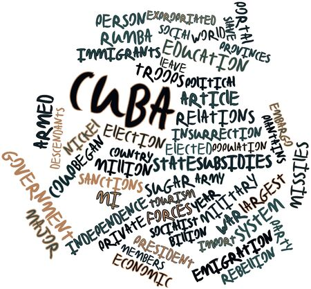 descendants: Abstract word cloud for Cuba with related tags and terms Stock Photo