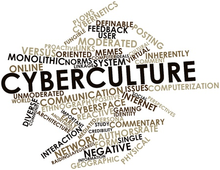 feedback link: Abstract word cloud for Cyberculture with related tags and terms Stock Photo