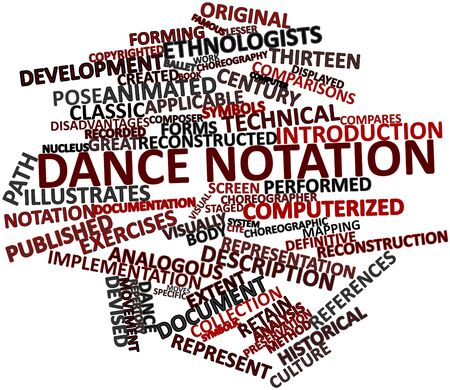 extent: Abstract word cloud for Dance notation with related tags and terms