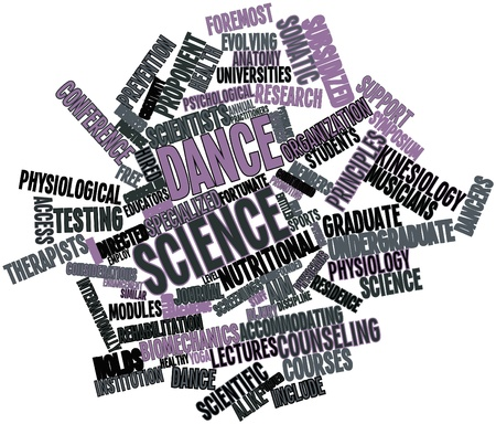internationally: Abstract word cloud for Dance science with related tags and terms