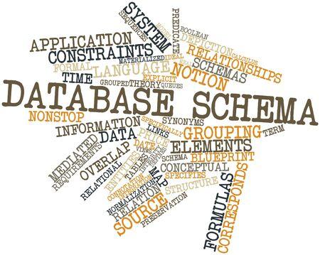 関連タグと用語データベース スキーマの抽象的な単語の雲 写真素材