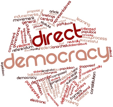 Abstract word cloud for Direct democracy with related tags and terms