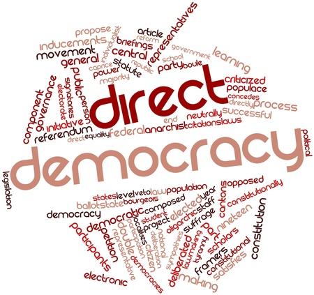 democracia: Nube palabra abstracta para la democracia directa con las etiquetas y términos relacionados