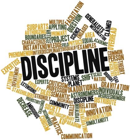 disciplina: Nube de palabras Resumen de Disciplina con las etiquetas y términos relacionados Foto de archivo