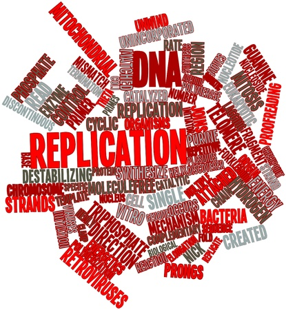 replication: Abstract word cloud for DNA replication with related tags and terms