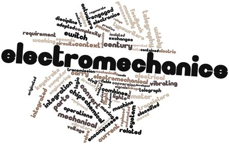 manually: Abstract word cloud for Electromechanics with related tags and terms Stock Photo