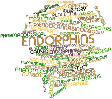 synaptic: Abstract word cloud for Endorphins with related tags and terms Stock Photo
