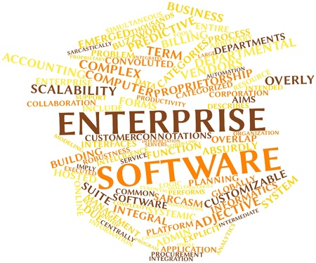 robustness: Abstract word cloud for Enterprise software with related tags and terms Stock Photo