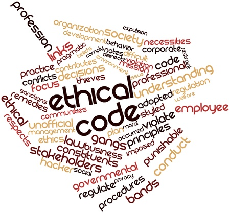 circumstances: Abstract word cloud for Ethical code with related tags and terms
