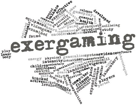 physically: Abstract word cloud for Exergaming with related tags and terms