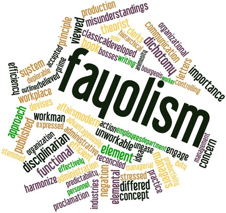 advocated: Abstract word cloud for Fayolism with related tags and terms Stock Photo