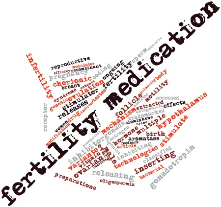 infertility: Abstract word cloud for Fertility medication with related tags and terms Stock Photo