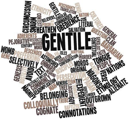 contextual: Nube palabra abstracta para los gentiles con las etiquetas y t�rminos relacionados Foto de archivo