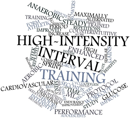 elicit: Abstract word cloud for High-intensity interval training with related tags and terms