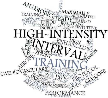 altas: Nube palabra abstracta para entrenamiento de intervalos de alta intensidad con etiquetas y términos relacionados