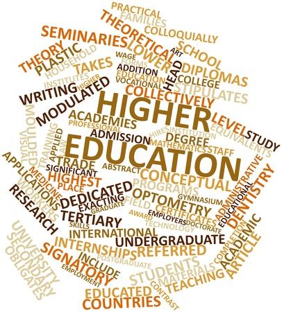 low prizes: Nube de palabras abstracto para la educaci�n superior con las etiquetas y t�rminos relacionados