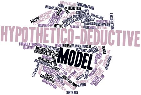 explanatory: Abstract word cloud for Hypothetico-deductive model with related tags and terms Stock Photo