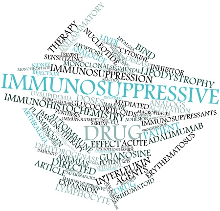 erythematosus: Abstract word cloud for Immunosuppressive drug with related tags and terms Stock Photo