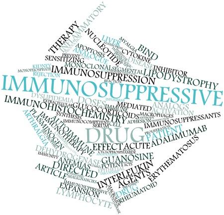 apoptosis: Nube palabra abstracta para medicamentos inmunosupresores con etiquetas y t�rminos relacionados