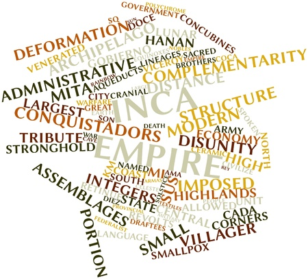 named person: Abstract word cloud for Inca Empire with related tags and terms Stock Photo