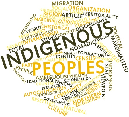 Abstract word cloud for Indigenous peoples with related tags and terms Stock Photo - 16678743
