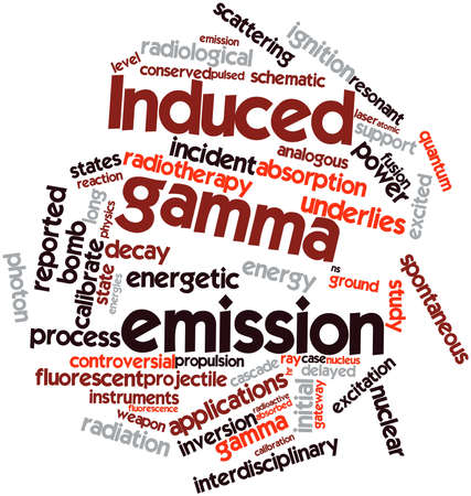 gamma: Abstract word cloud for Induced gamma emission with related tags and terms