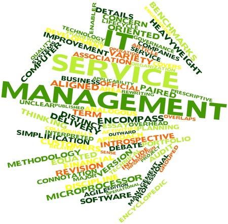 interakcje: Abstract cloud słowo zarządzania usługami IT z pokrewnymi tagów oraz warunków Zdjęcie Seryjne