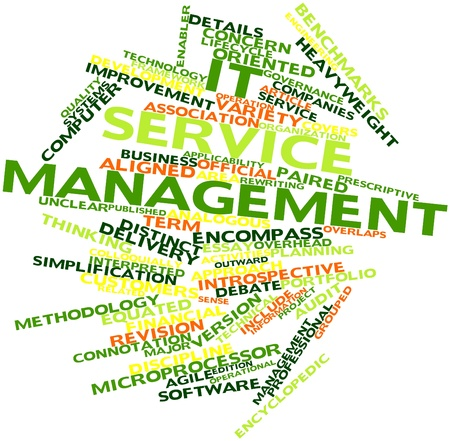 Abstract word cloud for IT service management with related tags and terms Stock Photo - 16679003