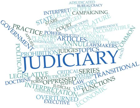 constitutional: Abstract word cloud for Judiciary with related tags and terms Stock Photo