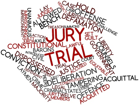 Abstract word cloud for Jury trial with related tags and terms Stock Photo - 16678720