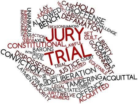 jurado: Nube palabra abstracta para el juicio del jurado con las etiquetas y términos relacionados