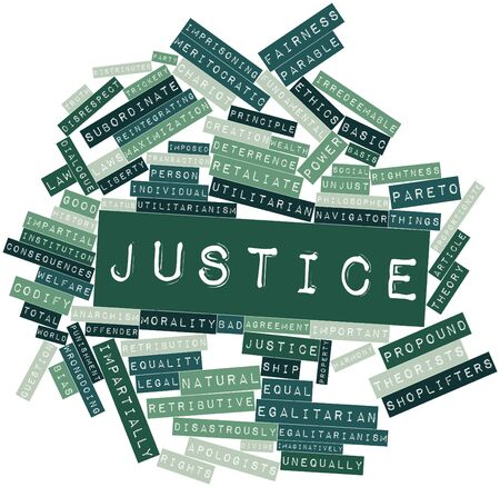 retribution: Abstract word cloud for Justice with related tags and terms