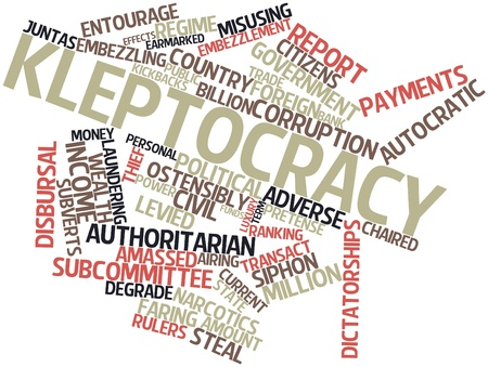 adverse: Abstract word cloud for Kleptocracy with related tags and terms