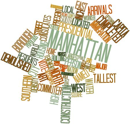 populous: Abstract word cloud for Manhattan with related tags and terms