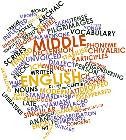 disappeared: Abstract word cloud for Middle English with related tags and terms Stock Photo