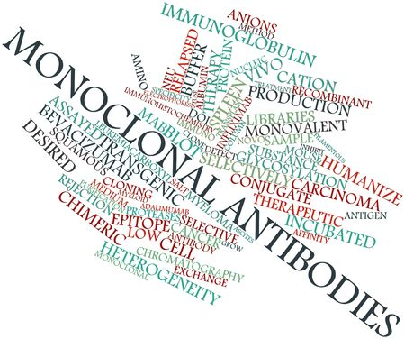 heterogeneity: Abstract word cloud for Monoclonal antibodies with related tags and terms
