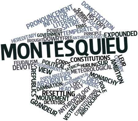 dowry: Abstract word cloud for Montesquieu with related tags and terms Stock Photo