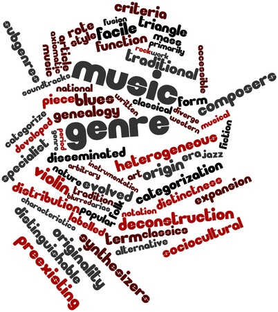 Abstract word cloud for Music genre with related tags and terms Stock Photo