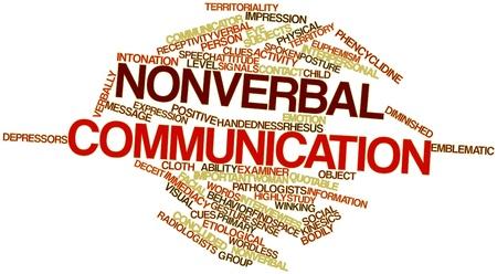 comunicacion no verbal: Nube palabra abstracta para la comunicaci�n no verbal con las etiquetas y t�rminos relacionados Foto de archivo