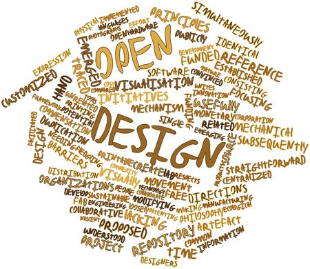 funded: Abstract word cloud for Open design with related tags and terms