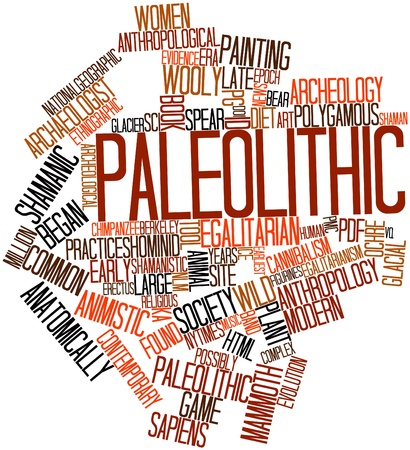 Abstract word cloud for Paleolithic with related tags and terms Stock Photo - 16679245