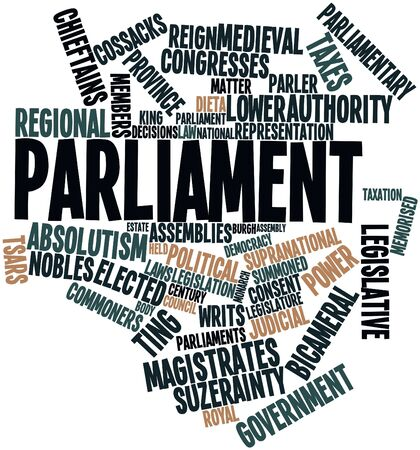 parliaments: Word cloud astratto per il Parlamento con tag correlati e termini