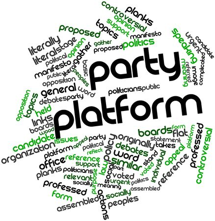 socially: Abstract word cloud for Party platform with related tags and terms