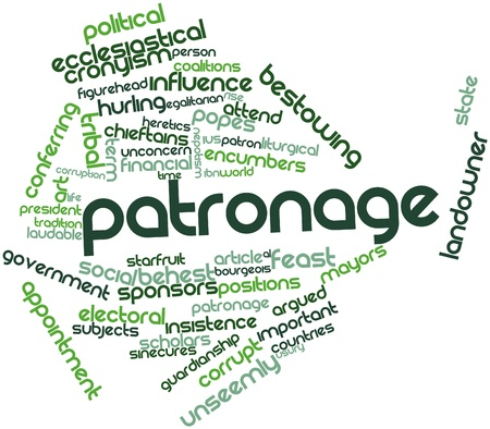 bestowing: Abstract word cloud for Patronage with related tags and terms